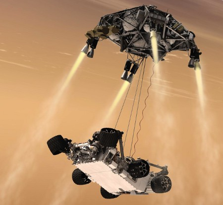 NASA's Mars Science Laboratory: Curiosity's sky crane maneuver (image copyright 2011 NASA/JPL-Caltech)